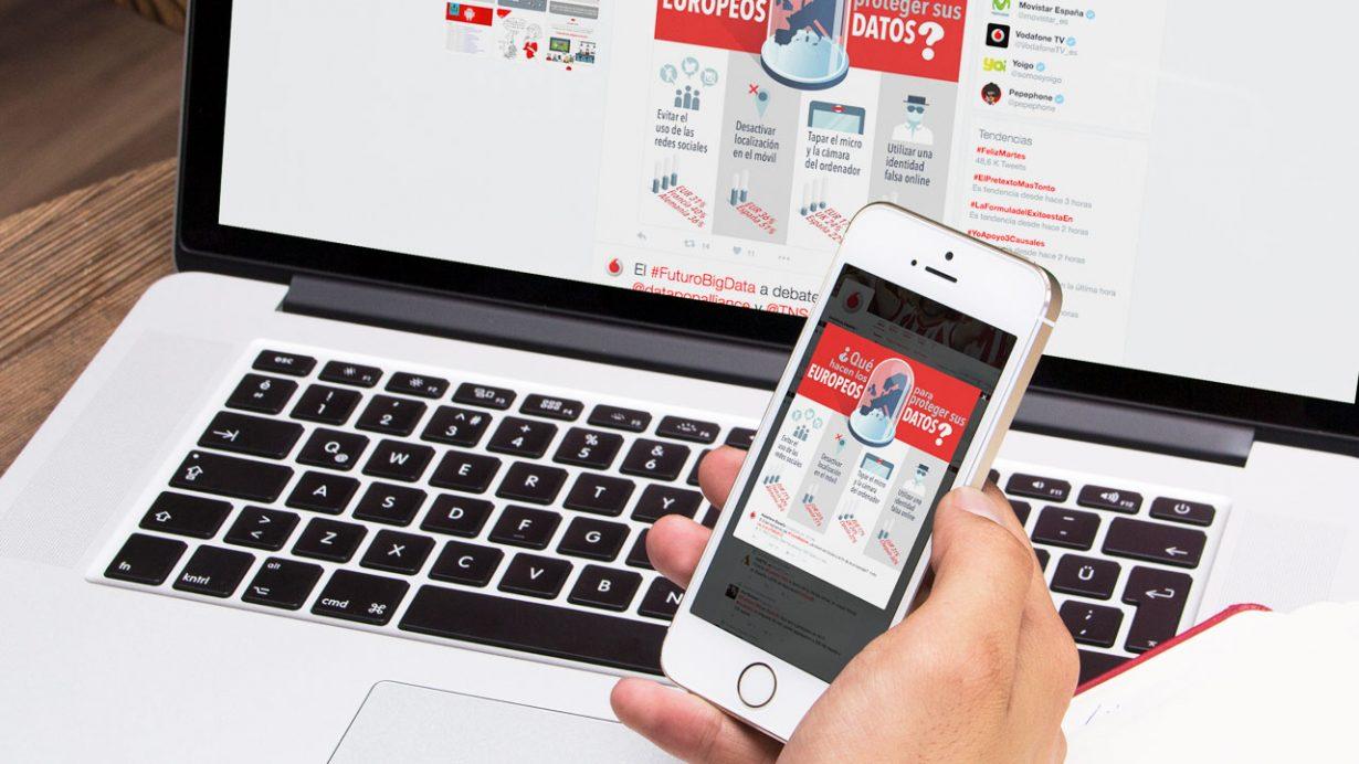 Creamos píldoras infográficas adaptadas a Twitter para la empresa Vodafone
